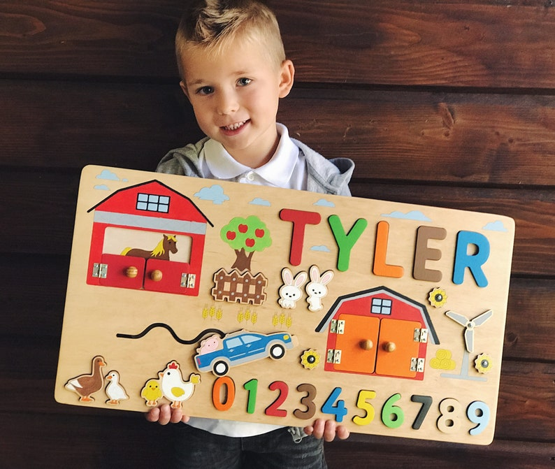 Farm Animals Wooden Name Puzzle 1st 2st 3st Birthday Gift For