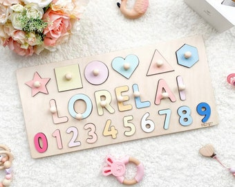 Name Puzzle With Pegs, Busy Puzzle, Montessori Toys, Wooden Name with Numbers, Baby Shower Gift, Personalized Baby Puzzle