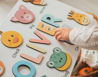 Personalized Name Puzzle with Animals | Baby, Toddler, Kids Toys | Wooden Toys | Baby Shower | Christmas Gifts | First Birthday Girl and Boy