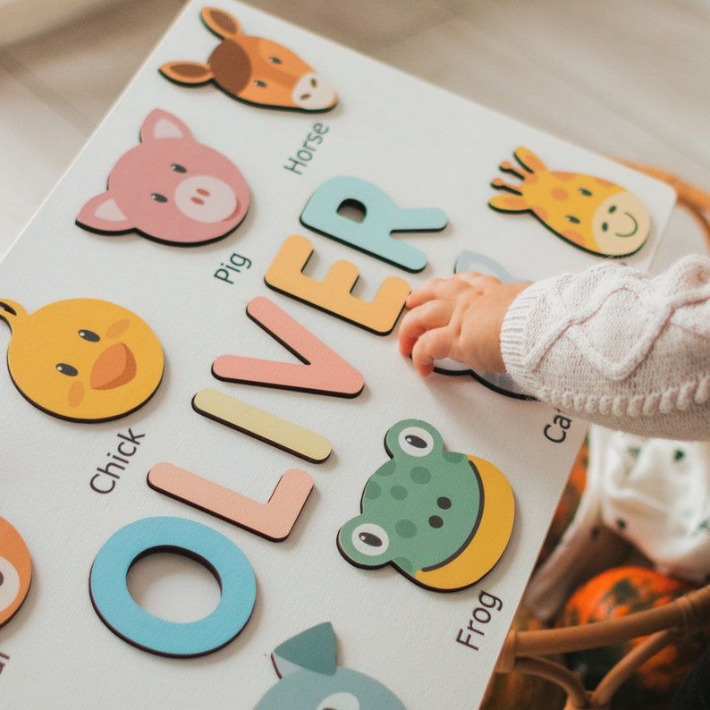 Personalized Name Puzzle with Animals  Baby Toddler Kids image 1