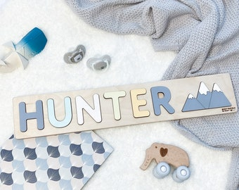 Personalized Name Puzzle + Mountains at Extra Charge by BusyPuzzle - Nursery Wall Decor - Personalized Toys for Child  - 1st Birthday Gift
