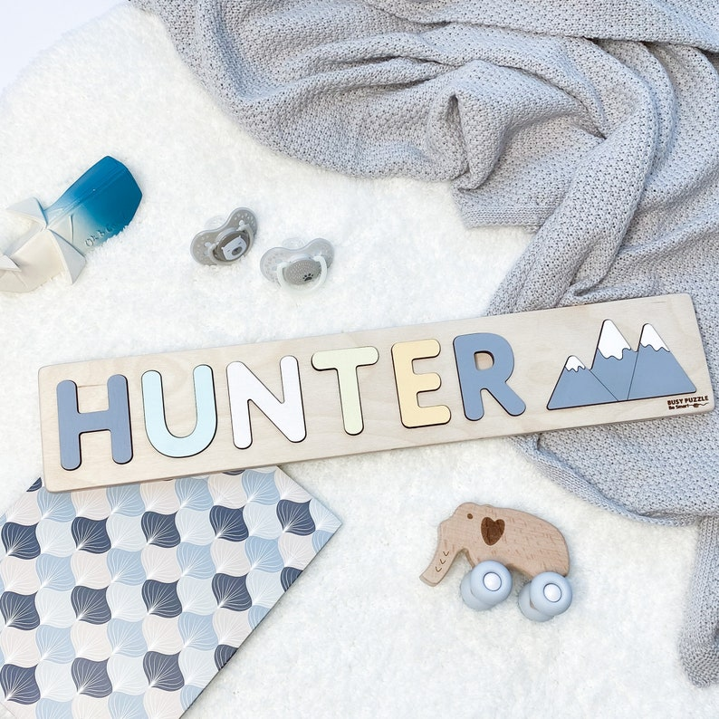 Personalized Name Puzzle  Mountains at Extra Charge by HUNTER