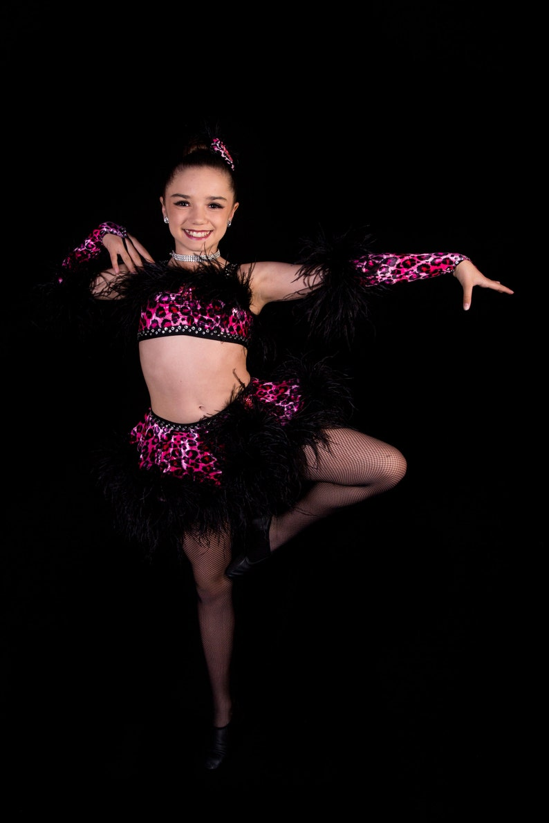 Fancy 2 pc Competition Solo Dance Costume with Rhinestones Child Size 8-10