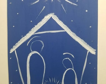 Hand panting Blue Nativity silhouette wood cut out sign, Christmas sign, baby Jesus sign, wreath signs