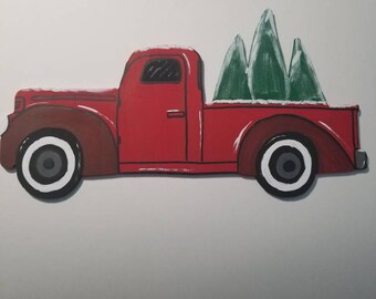 Hand painted Red vintage truck wood sign,  holiday truck, red truck with Christmas trees,  Christmas sign, wreath attachment, season truck