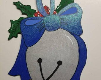 Hand painted Christmas jingle bell wood cut out sign,  blue ribbon silver bell, jingle bell cute Christmas sign.