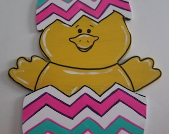 Hand painted Easter egg chick wood sign, wreath sign,  Easter sign, Easter egg, cute chick sign, colorful Easter egg sign