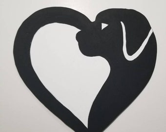 Hand painted Black and white Heart dog Silhouette  wood cut out sign. Dog lover pet lover dog rescue.