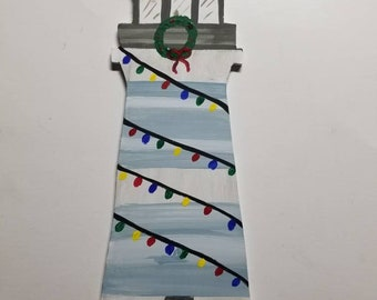 Hand painted Light house with  lights wood cut out sign, beach theme, coastal theme, cute decorated light house, wreath sign.
