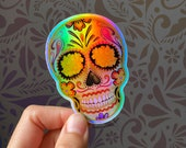 Holographic Day of the Dead Sugar Skull - 3 quot Vinyl Sticker