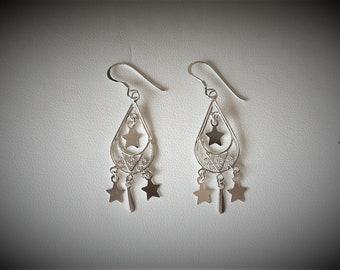 Dangle earring with stars, boho earrings, silver earrings, handmade earring.