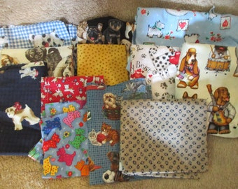 Variety of Dog Themed Scrap Fabric - Craft Quilt Almost 2 lbs