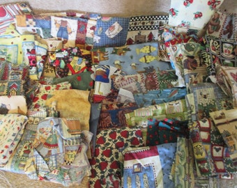 Country Kitchen Cabin Theme Scrap Fabric - Almost 4 lbs