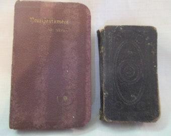 Lot of 2 Antique Vintage Pocket Bibles - New Testament 1800's (?), 1941 US Armed Forces
