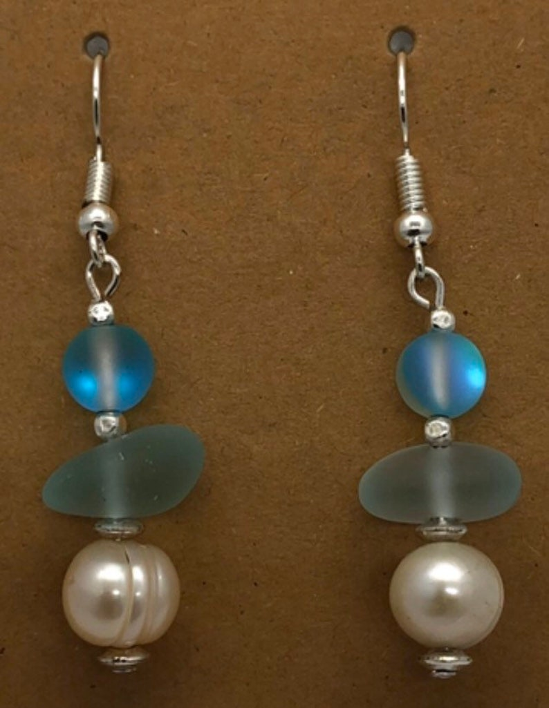 Mermaid glass freshwater pearl and cultured sea glass earrings