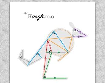 """Geometry """"Kangleroo"""" printable educational poster, Math wall art"""