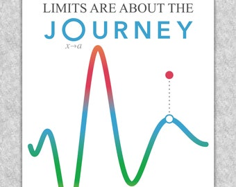 """Calculus """"Limits are about the Journey, not the Destination"""" printable educational poster, Math wall art"""