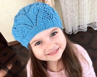Girls knit blue beret/child bert/knit blue beret