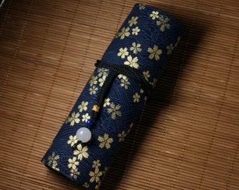 Hand-made Cotton Pen Pouch with white agate-Golden Sakura- Navy