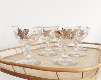 Vintage Libbey Gold Leaves Glasses - Set of 6