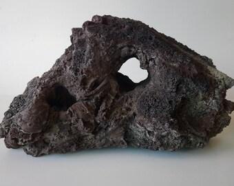 Large Aquarium Lava Rock - Statement Piece - Aquascapes - Red & Black Coloring - Scenic Aquarium And Fish Tank Decor - Hand Carved Piece