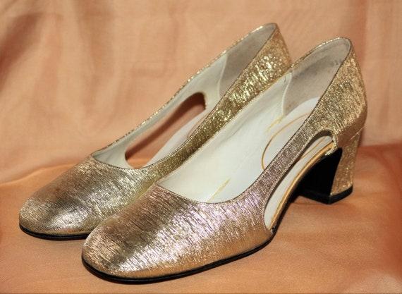 60er Jahre Schuhe Pumps Gr.37 38 sixties gold vintage Party   Etsy f646160544