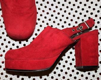 platform Slingbacks Clogs red suede chunky Hippie shoes EU /DE size 36 (3. 5) vintage sandals boho 70s 80s leather  plateau