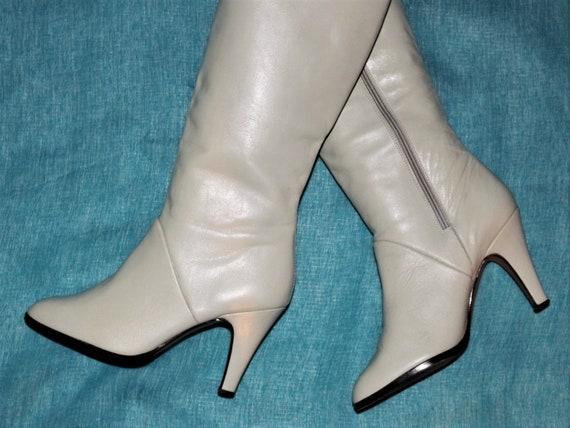 elegant vintage leather boots cream-white EU/DE si