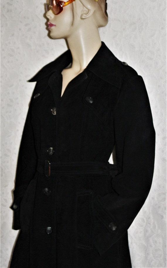 Vintage VTG European Bohemian Brown Suede Long Line Coat with Tie Waist  Size 40