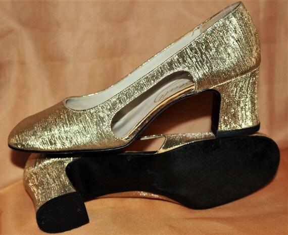 60er Jahre Schuhe Pumps Gr.37 38 sixties gold vintage Party TOP Struktur 4c14a321fa