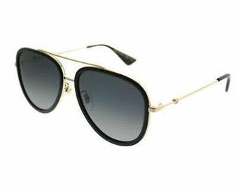 433fb33644 Gucci GG 0062S 011 Black Gold Aviator Sunglasses Grey Gradient Polarized  Lens Frame