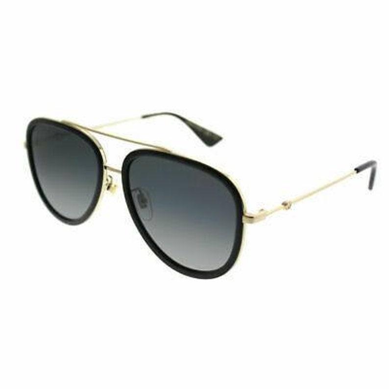 f31c14be5c9 Gucci GG 0062S 011 Black Gold Aviator Sunglasses Grey Gradient