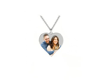 Heart Shape Sterling Silver Laser Enameled Photo Pendant (Includes chain & Engraving (made in USA)