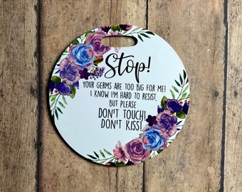 Purple and Blue Floral Stroller Tag || Baby Carrier Tag || Car seat Sign || Germ Sign || Don't Touch The Baby || Personalized