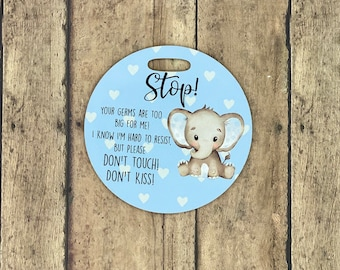 Blue Elephant Stroller Tag || Baby Carrier Tag || Car seat Sign || Germ Sign || Don't Touch The Baby