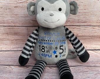 Birth Announcement Monkey || Birth Stat || Baby Shower || Personalized Preemie Gift