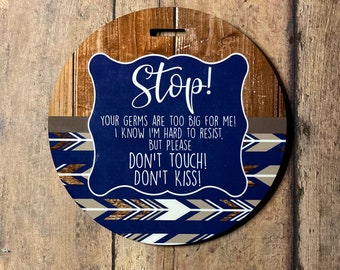 Blue Woodland Stroller Tag || Baby Carrier Tag || Car seat Sign || Germ Sign || Don't Touch The Baby