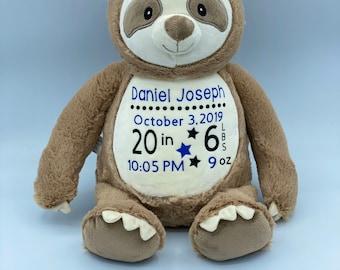 Birth Announcement Sloth || Birth Stat || Baby Shower Gift || Personalized || Sloth Plush || Newborn Present