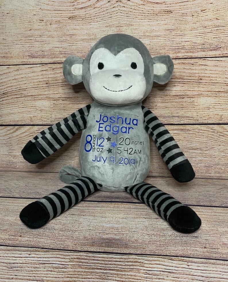 Birth Announcement Monkey Personalized Preemie Gift Birth Stat Baby Shower