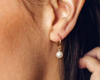 Tiny Pearl Charm Hoop Earrings \u2022 Pearl Earrings Dangle \u2022 Pearl Earrings Gold \u2022 Pearl Wedding Jewelry \u2022 Eco Friendly Gifts for Her