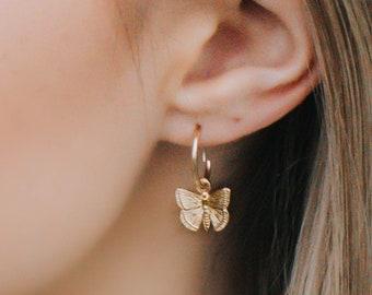 Gold earrings gold filled earrings butterfly earrings dangle earrings gold filled Huggies dainty drop earrings gold butterfly earrings