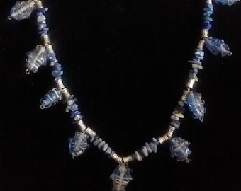 Lapis Lazuli/Blue Wire-wrapped Glass Bead Handmade Necklace