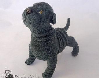 Shar pei crocheted dog, black dog, gift for dog lovers, toy handmade dog, soft toy dog, cute knitted dog, small dog, plush dog, stuffed dog
