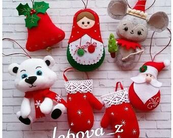 Red decor Christmas ornaments felt home Decor set cute Christmas favors Christmas tree ornaments Gift for Christmas gift