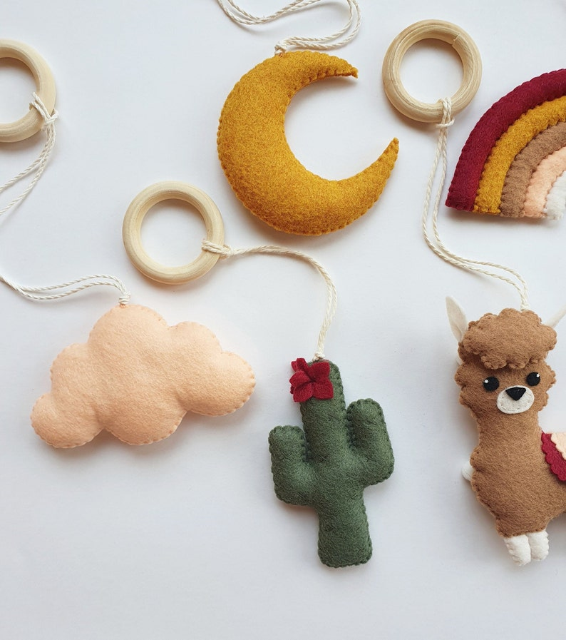 Llama and Cactus Play Gym Toys Hanging Baby Toys Boho Warm Tones Play Toy Baby Activity Center Toys Cactus Gender Neutral Play Gym Toys