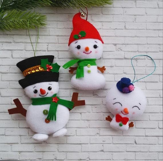 Etsy Christmas Ornaments.Christmas Ornaments Felt Snowman Ornament Christmas Decorations Ornament Felt Christmas Tree Ornaments Cute Snowman Christmas Gifts