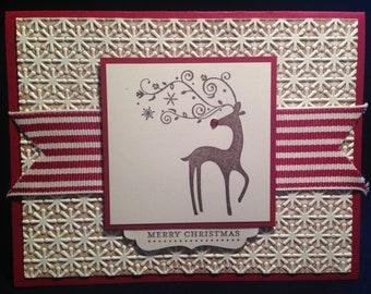 Merry Christmas greeting card - reindeer