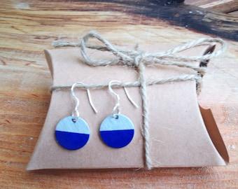 Earrings/Pendant semicircle Blue