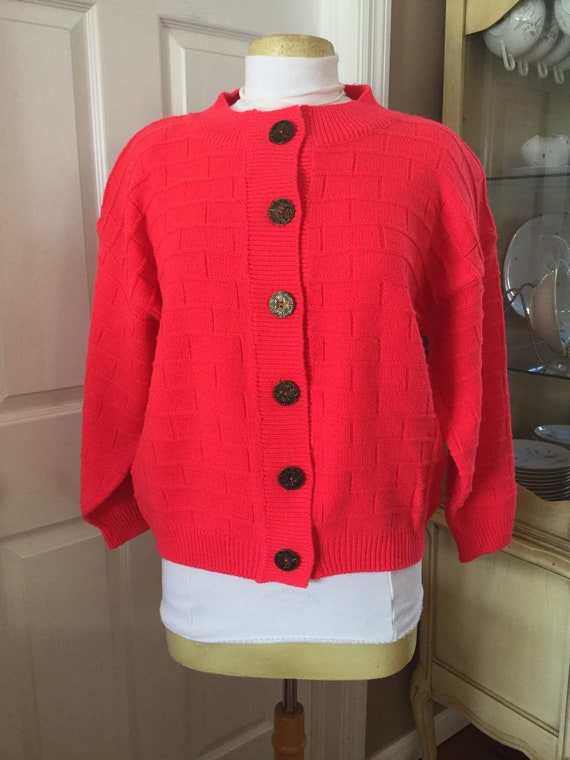 Vintage Lindsay Gray Acrylic Hot Pink Cardigan Sweater Etsy