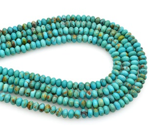 Bluejoy Genuine Natural American Turquoise 6.5mm Free-Form Disc Bead 16 inch Strand